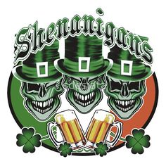 'Laughing Irish Leprechaun Skulls: Shenanigans' T-Shirt by sdesiata Shamrock Tattoos, Clover Tattoos, Framed Art Prints, Irish Celtic, Celtic Art, Irish Tattoos, Celtic Tattoos, Leprechaun Tattoos