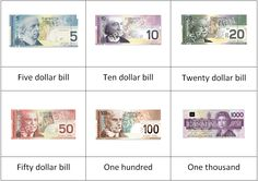 printable pictures canadian money | ... Canadian Currency 3 part Cards Free Printable & Great Currency