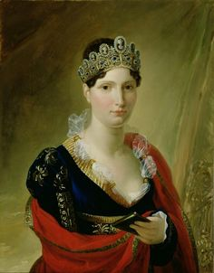 Portrait of Elisa Baciocchi, Great Duchess of Tuscany at this time of Hortense's step-aunts, a rather severe woman. Royal Jewels, Crown Jewels, Royal Crowns, Turbans, Adele, French Royalty, European Dress, Napoleon Josephine, Empress Josephine