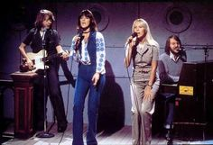 ABBA rehearsing their appearance on the US tv show NBC's Saturday Night (later known as Saturday Night Live) on Frida's bithday: November 15th 1975.