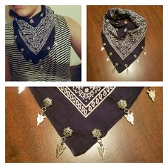 Custom made arrowhead pendant bandanas. Message me and let me know the color you want and whether you want a vintage bandana or a new one.  Vintage bandana $35 New bandana $25 You choose color.  #southwestern #western #handmade #made in usa #forsale #necklace #choker