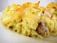 Chicken Tetrazinni  Ingredients: 1 lb cooked & drained spaghetti Chicken breast cooked and cubed 2 cans cream of chicken 2 1/4 cup water 1/4 cup butter 1/2 cup shredded Parmesan cheese 1/2 cup shredded fiesta blend cheese Optional- mushrooms   1. Place chicken in a 9x13 baking dish and top with cooked chicken 2. In a saucepan boil soup, water, butter then pour on top of spaghetti & chicken.  3. Top with shredded cheese 4. Bake 350 degrees for 25 mins