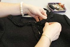 Making of the Chanel Little Black Jacket: Hand-sewn details. © Chanel.