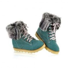 $19.37 Stylish Casual Women's Combat Boots With Solid Color Lace-Up and Imitation Fur Design Sammydress.com