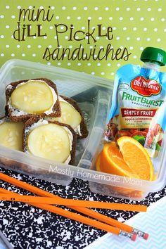 Mini Dill Pickle Sandwiches - Cream cheese, mini pumpernickel bread, and sliced kosher dill pickles are perfect and adorable bento lunch box sandwiches!