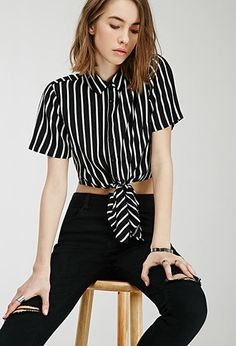 Self-Tie Striped Shirt | Forever 21 - 2000098802