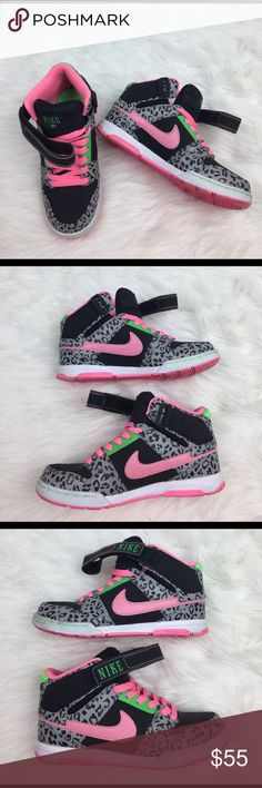 Rare Colorway Nike Air Hightops Super cool colorway! Used a few times and has a little bit of wear but in overall great condition. Has velcro straps and shoestring closure. Pink / lime green / cheetah print Nike Shoes Sneakers