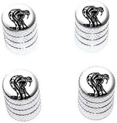 """Amazon.com : (4 Count) Cool and Custom """"Diamond Etching Rattlesnake Top with Easy Grip Texture"""" Tire Wheel Rim Air Valve Stem Dust Cap Seal Made of Genuine Anodized Aluminum Metal {Satiny Chevy Silver and White Colors - Hard Metal Internal Threads for Easy Application - Rust Proof - Fits For Most Cars, Trucks, SUV, RV, ATV, UTV, Motorcycle, Bicycles} : Sports & Outdoors"""