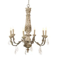 distressed white crystal french chandelier - shabby chandeliers, french chandeliers, antiqued chandeliers