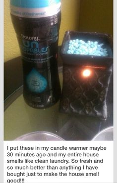Make Your House Smell Good For Way Cheap!Put downy unstoppables in a candle warmer and it smells fantastic!!Oranges peels in water for a boil smells great!  Even the smell of cookies will make your house smell amazing!