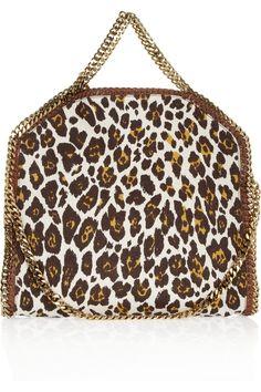 Stella McCartney|The Falabella convertible leopard-print linen shoulder bag|NET-A-PORTER.COM