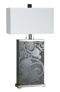 """Candice Olson Paisley Table Lamp, Etched Glass with Chrome Accents & Cream Shade 18""""x35"""" Candice Olson Lighting http://www.amazon.com/dp/B001EX8N2O/ref=cm_sw_r_pi_dp_Fod1ub1X7CH2J"""