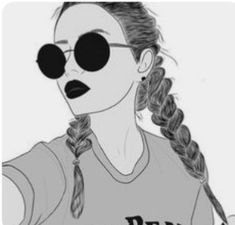 girl with short braids art Tumblr Girl Drawing, Tumblr Drawings, Girl Drawing Sketches, Cute Easy Drawings, Art Drawings Sketches Simple, Girly Drawings, Outline Drawings, Girl Sketch, Pencil Art Drawings