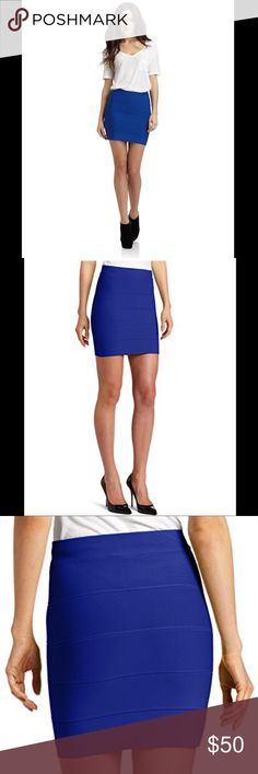 """NWT BCBGMaxazaria """"Simone"""" Bandage Skirt NWT BCBGMaxazaria """"Simone"""" bandage skirt in blue. Great piece to have in any closet. Easy to wear for a variety of events. This flattering skirt has lots of stretch.  •measurements•  Length: 17"""" Waist: 25"""" BCBGMaxAzria Skirts Mini"""