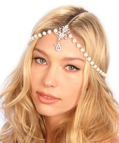 Love this Kristin Perry Accessories Silvertone & Faux Pearl Chain Headpiece by Kristin Perry Accessories on #zulily! #zulilyfinds