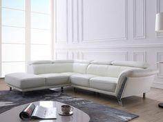 Canapé d'angle gauche TALMA en cuir et coloris Ivoire pas cher prix promo Canapé Vente Unique 1 299.99 €