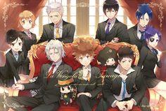 Vongola - Haru, Kyoko, Ryohei, Gokudera, Reborn, Tsuna, Lambo, Hibari, Yamamoto, Mukuro, and Chrome #group #sitting