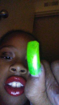 I got fake nail on and lip gloss.