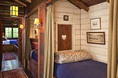 bunk room with privacy curtains