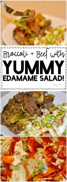 Chang's Home Menu Beef with Broccoli and a yummy homemade edamame salad - perfect for an easy weeknight dinner or when friends come over! Asian Recipes, Beef Recipes, Real Food Recipes, Yummy Recipes, Top Recipes, Amazing Recipes, Salad Recipes For Dinner, Healthy Salad Recipes, Lunch Recipes
