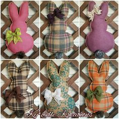 New Easter Burlap Bunny Door Hangers now available!   Measuring 18x10 inches, they are the perfect addition to your seasonal decor this Easter.  Available in a variety of colors and prints.