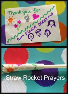 Flame: Creative Children's Ministry: Straw Rocket Prayers- Could shoot the prayers into a heart or something Prayer Crafts, Bible Crafts, Jesus Crafts, Kids Crafts, Craft Projects, Sunday School Lessons, Sunday School Crafts, Straw Rocket, Childrens Prayer
