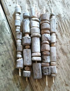 drilled driftwood - 40 inches of rustic beads, various sizes, 3mm hole, for woodland  or fall garlands or seaglass or seashell mobiles