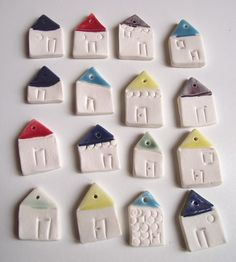 Little porcelain house pendants
