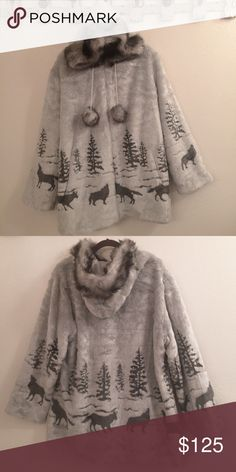 Faux fur hooded zip up jacket with satin lining Very soft and beautiful light gray hooded faux fur coat. Bottom half imprinted with black wolves and pine trees. Full light gray satin lining. Black Mountain Jackets & Coats