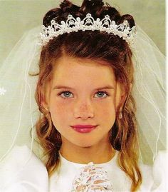 First Holy Communion Pearl Crown and Veil - First Communion Veils - First Communion Headpieces