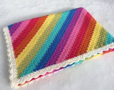 Retro Granny Blanket Colourful Squares Throw by LoopyAngCrochet