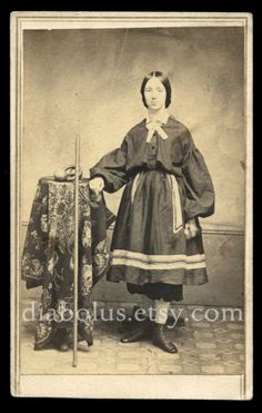 Rare 1860s Sports CDV / Girl in Workout Gear with Dumbbell & Exercise Equipment!