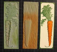 Hannah Skoonberg ~ Carrot Bookmark ~ Linocut                                                                                                                                                                                 More