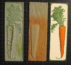 Hannah Skoonberg ~ Carrot Bookmark ~ Linocut