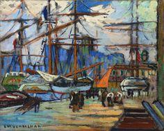 """LOUIS MATHIEU VERDILHAN (French, 1875-1928) - """"Voile orange dans le port de Marseille"""""""