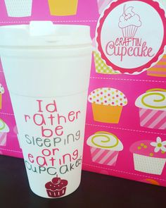 I'd rather be sleeping or eating cupcakes double wall travel mug - pinned by pin4etsy.com