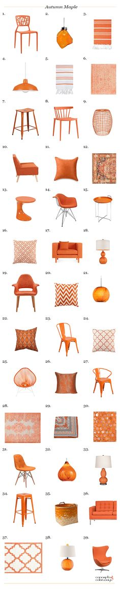 pantone autumn maple interior design product roundup, blood orange, burnt orange, reddish-orange, tangerine orange, pantone autumn maple, color for interiors, interior styling