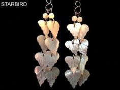 MOTHER OF PEARL LEAF BUNCHED CLUSTER DROPS SEASHELL DANGLE EARRINGS 80's VINTAGE