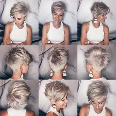 In every period of rapidly changing hair trends, short pixie cuts can be an excellent experience if you're tired of your current hairstyle and you really need an unusual look. This short hair cut, especially preferred by desirous and sassy. Short Hair Model, Short Grey Hair, Short Hair With Layers, Short Hair Cuts For Women, Short Blonde, Short Hair Long Bangs, Super Short Hair, Popular Short Hairstyles, Short Pixie Haircuts