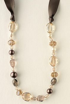 Stella and Dot The Chloe Necklace features hand-knotted, faceted beads with sumptuous ribbon.