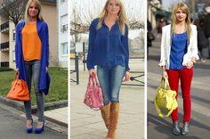 neste inverno abuse das combinaçoes com azul, vermelho e laranja!