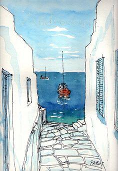 Paros Boat Greece 12 x 8 giclee print signed by AndreVoyy on Etsy, $20.00