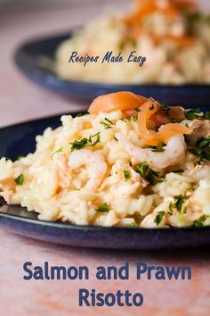 The prawns are a low fat and counterbalance the oilier salmon which teams perfectly with the starchy rice in this easy fish risotto. #Risotto #RecipesMadeEasy #healthier Easy Family Dinners, Family Meals, Easy Meals, Smoked Mackerel, Poached Salmon, Risotto Rice, Party Dishes, Fish Dinner, Salmon Fillets