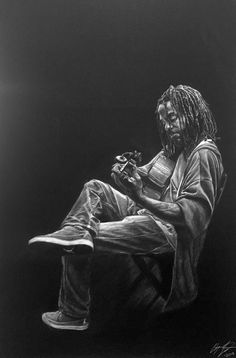 Steven Baumgardner, white charcoal on black paper, 42x28in. #realism #drawing #charcoal #figurative #musician #savannah