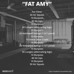 """Squat Workout 624593042046806488 - """"Fat Amy"""" WOD – For Time: 50 Air Squats Source by bakinglifestories Fitness Workouts, Wod Workout, Sport Fitness, Workout Challenge, Fitness Motivation, Fitness Tips, Workout Plans, Fitness Equipment, Sit Up Workout"""