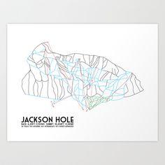 Jackson Hole, WY - Minimalist Trail Map Art Print by CircleSquareDiamond - $16.00