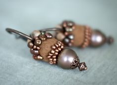 Unique Hoop Brown and Copper Earrings with Handmade Felt and Pearls - Real Statement Gift under 75 USD. $54.00, via Etsy.