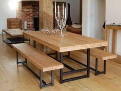 Furniture. rectangle light brown wooden table and bench with black steel legs plus foot rest placed on the brown wooden flooring. Astounding Wood And Metal Dining Tables Offer Appealing Design