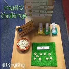 Maths challenge table. This activity was an adult led the week before. Hoping the children will be able to do this independently.