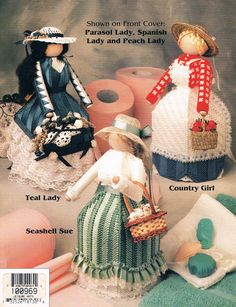 Bath Tissue Cover Dolls Annie's Attic Plastic Canvas Pattern Booklet for sale online Plastic Canvas Crafts, Plastic Canvas Patterns, Bath Doll, Annie's Attic, Embroidery Transfers, Needlepoint Patterns, Pattern Books, Craft Patterns, Square Quilt